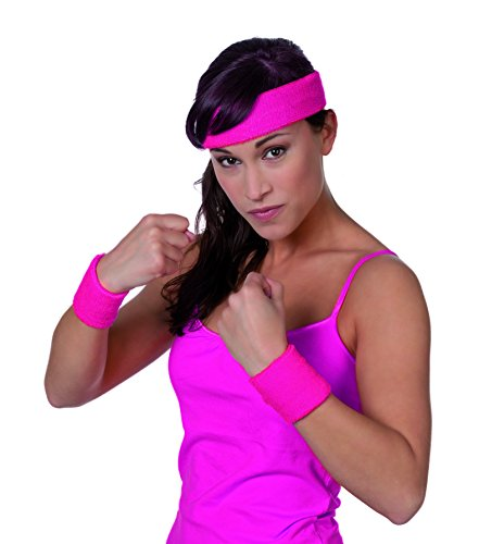 Jannes 51070 Schweißband-Set aus Strick 3-Teilig Stirnband Armband Armreif Neon-Pink