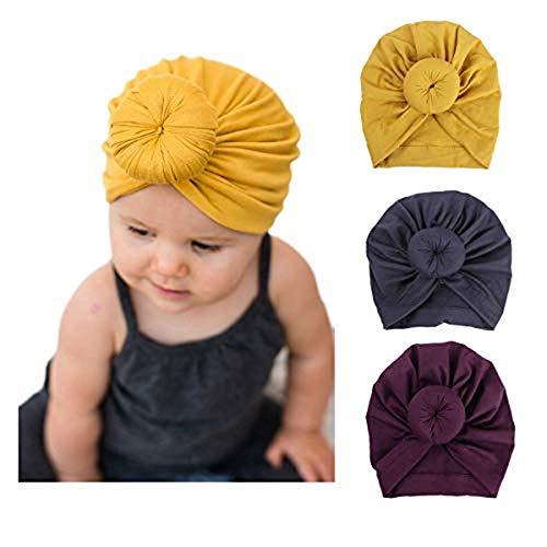 DRESHOW 3 Pièces Bébé Turban Chapeaux Turban Bun Noeud Bébé Infant Bonnet Bébé Fille Doux Mignon Toddler Cap