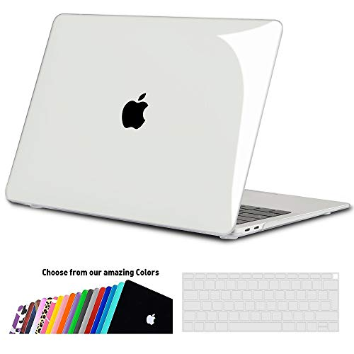 iNeseon Hülle Kompatibel 2018 2019 MacBook Air 13 Retina (A1932), Ultra Dünner Plastik Hartschale Case Schutzhülle und Tastaturschutz für MacBook Air 13 Zoll mit Touch ID, Kristall transparent