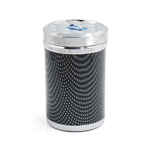 sourcing map Fibre Carbone modèle Auto LED Cendrier Porte Cendre Cigarette Coupe Cylindre