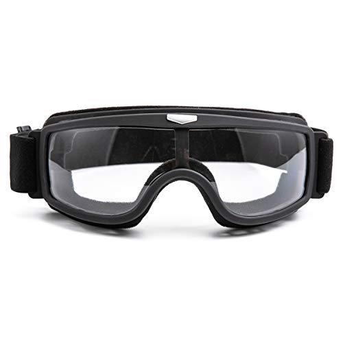 evomosa Gafas de moto Gafas de protección motocross a prueba de polvo y viento (Marco negro lente transparente)
