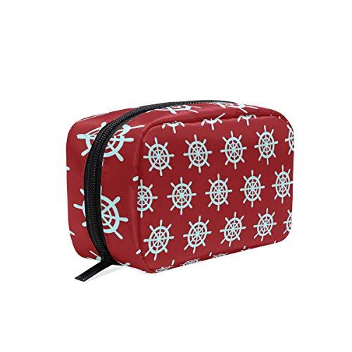 Kleine Make-up-Tasche mit nautischem Ruder-Ruder, rot, Make-up-Tasche, Mini-Kosmetiktasche für Frauen und Mädchen, Kulturbeutel für Organizer mit Fächern, Reisezubehör