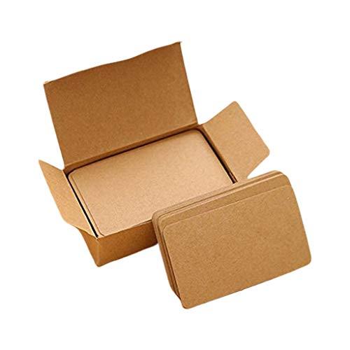 Mya 100 stycken bruna kort vita tomma kort meddelandekort små anteckningskort block block memorandum anteckning vit kartong ord kort semester gör-det-själv presentkort med kraftpapper box