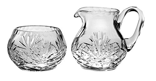 Majestic Gifts Handcut Mouth Blown Sugar & Creamer, Clear