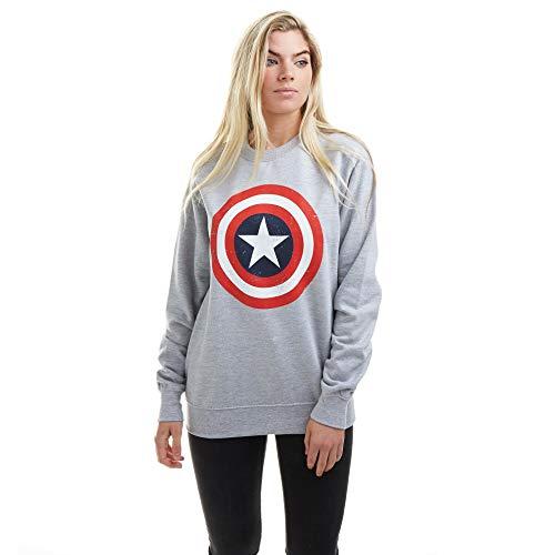 Marvel Captain America Shield Crew Sweat Sudadera, Gris, 44 para Mujer