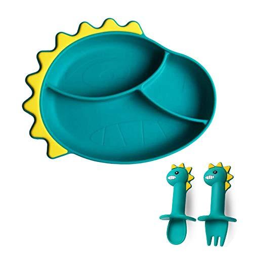 Silikon-Dinosaurier-Saugplatte für Kleinkinder mit Löffel und Gabel, rutschfeste, selbsternährende Trainingsplatte. BPA-frei, mikrowellengeschirrspülersicher