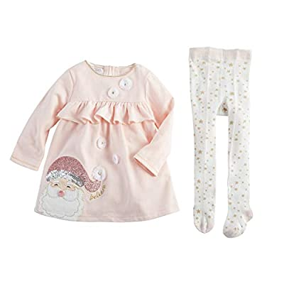 Mud Pie Santa Dress and Tights Set Pink