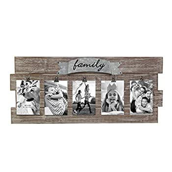 Stonebriar Rustic Wood Collage Picture Frame with Clips and Metal Detail