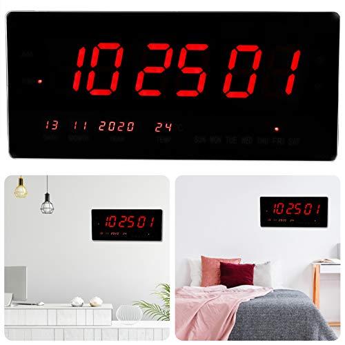 banapoy Reloj de Pared, LED, 19', Grande, Simple, Elegante, con Temperatura Interior, 24 Horas, Humedad, Fecha Reloj de Pared Digital, para Dormitorio, Sala de Estar
