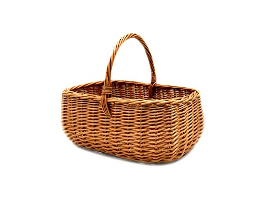 PM24 K1-014 - Cesta de mimbre, cesta de la compra o picnic, cesta estable de mimbre