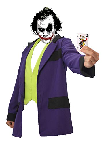 Adultos The Joker Crazy Clown Villain - Conjunto de chaleco y chaqueta [L/XL]