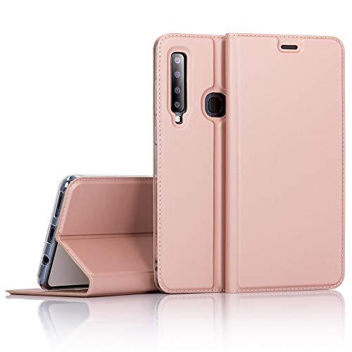 NALIA Hülle kompatibel mit Samsung Galaxy A9 2018, Slim Kickstand Handyhülle Flip-Hülle Kunstleder Book-Cover mit Magnet, Etui Ganzkörper Schutzhülle Dünne R&um Handy-Tasche Bumper, Farbe:Rose Gold