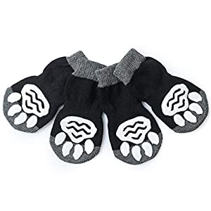 Harfkoko Pet Heroic Anti-Slip Knit Dog Socks&Cat Socks with Rubber Reinforcement, Anti-Slip Knit Dog Paw Protector&Cat Paw Protector for Indoor Wear, Suitable for Small&Medium&Large Dogs&Cats