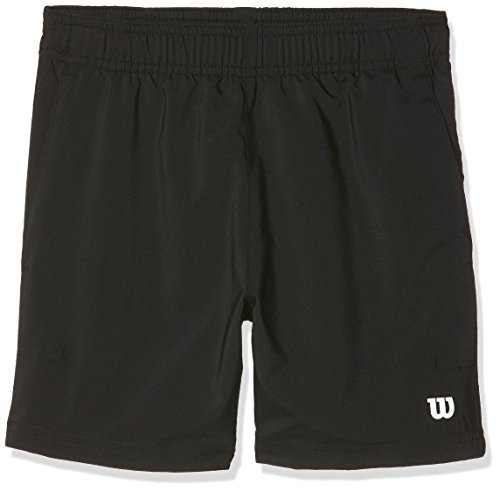 Wilson, B Team 7 Short, Pantalón corto de tenis para niño, Poliéster, Negro, Talla: L, WRA767402