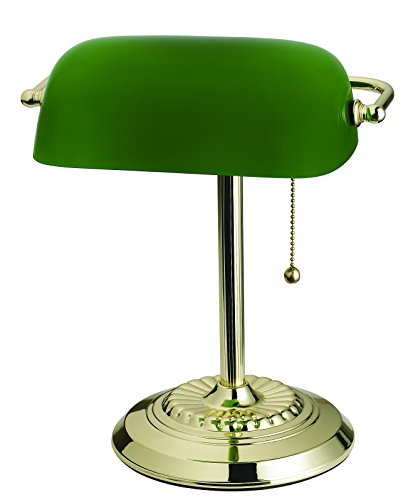 """Catalina Lighting 17466-017 Traditional Bankers Desk Lamp with Glass Shade, 13.5"""", Green"""