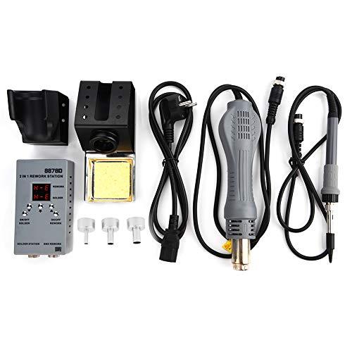 8878D - Estación de recuperación de soldador 2 en 1 para pistola de aire caliente controlada por microordenador SMD para la reparación de teléfono, enchufe europeo (EU Plug 220 V)