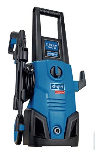 Scheppach HCE1600 Hochdruckreiniger 135 Bar mit Zubehör Reiniger | Motor 220 – 240 V~ | 1600 W Motor | Quick Connect System | Durchflussmenge 408 L/h