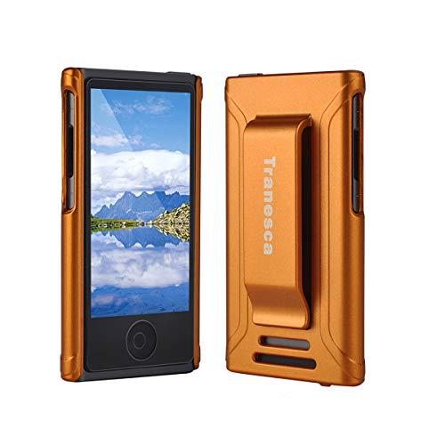 iPod Nano 7 case,Tranesca iPod Nano 7th & 8th Generation Rubber Cover Shell case with Belt Clip and Premium Tempered Glass Screen Protector - Sunset Orange