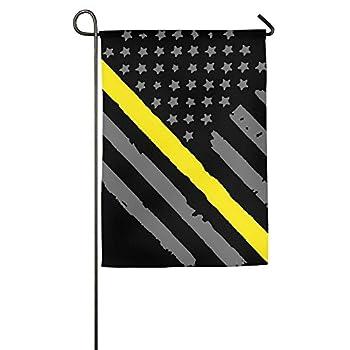 Flyss Garden Flag - 12 X 18 Inch Decorative Cute 911 Dispatcher Thin Gold Line American Flag House Flag