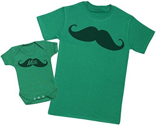 Zarlivia Clothing Moustashe - Ensemble Père Bébé Cadeau - Hommes T-Shirt & Body bébé - Vert - Large & 0-3 Mois