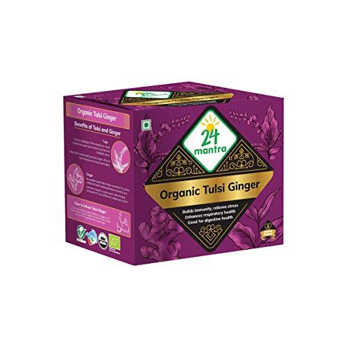 24Mantra Organic Tulsi Ginger Tea Powder, 250 g