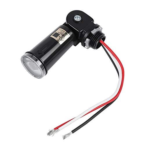 Interruptor fotoeléctrico, control de sensor de luz LED de 120 V con interruptor giratorio bimetálico térmico de alta resistencia con iluminación automática para lámparas de exterior