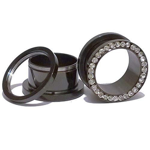 2 unids Cristal de acero inoxidable Anodizado Tornillo Negro Túnel Túnel Oído Enchufe Medidores Piercing de cuerpo Joyería-5mm