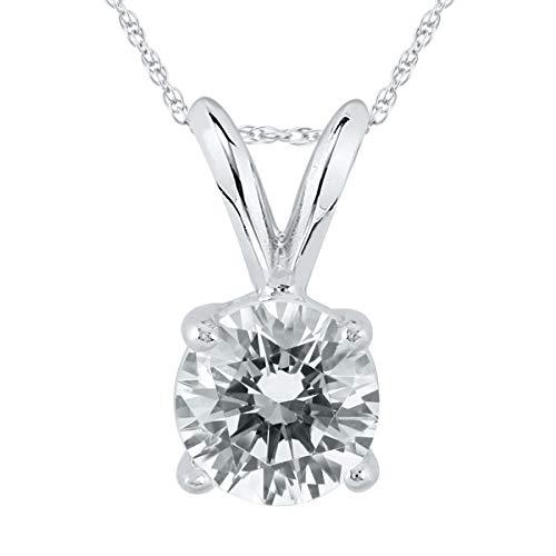 Vir Jewels-Orecchini con diamante 1 CT, in oro 14 K, colore: bianco