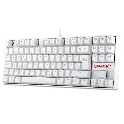 Redragon K552 Mechanische Gaming Tastatur 60% Mini TKL Keyboard mit Rote Schalter 87 Tasten für PC Gaming OHNE Beleuchtung - DE QWERTZ (Weiß)