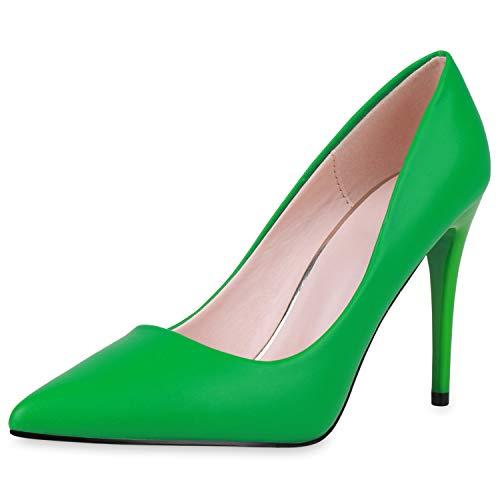 SCARPE VITA Damen Spitze Pumps Klassische Stiletto Schuhe High Heels Absatzschuhe Leder-Optik Partyschuhe 190445 Grün 40
