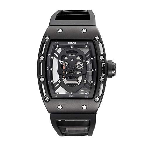 CXJC Relojes mecánicos de moda frescos Adecuados para la vida diaria, viajes y fiestas, relojes deportivos con cráneos huecos para hombres y mujeres, caja de acero inoxidable + correa de silicona