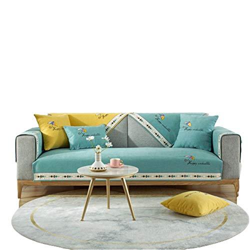 Chenille Umbrella Embroidered Sectional Couchbezüge rutschfeste Couchbezug für Ledersofa,Sofabezüge für Wohnzimmer,himmelblau,110 * 210