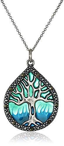 """.925 Sterling Silver Genuine Marcasite Enamel Tree of Life 1-1/3"""" Pendant Necklace on 18"""" Chain - Aqua Blue"""