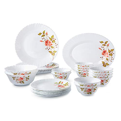 Amazon Brand – SolimoOpalware Dinner Set, 27 Pieces (Rose)