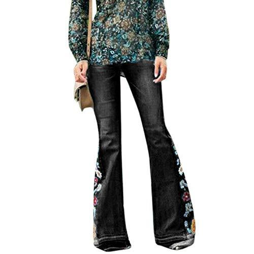 Loozykit Damen Jeans Schlaghose Flared Bootcut Stretch Skinny Jeanshose Blumen Stickerei Slim Fit Retro High Waist Schlagjeans Denim Hose (XS, A-Schwarz)