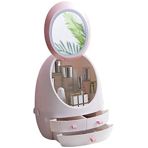 HOODIE witte cosmetische opbergdoos cosmetische opbergdoos 360 ° roterende make-up spiegel spiegel cosmetische opslag Geschikt voor badkamer Vanity en aanrecht (3 laden)
