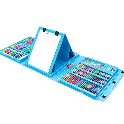 ZXIAQI 208 Stück Aquarellstifte Set für Erwachsene und Kinder, Kunstbox mit Öl pastellen, Buntstiften, Markern für Kinder und Kleinkinder Geschenk,Blau