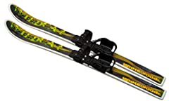 Pre-mounted ski set is for ages 4-8 Nylon molded 95cm skis with waxless base Slightly wider Kinder bindings, (+1cm at heel cup) than Snowman binding, for bigger feet, are easy on & off. No ski boots needed. Use with kids' regular winter boots apparel...