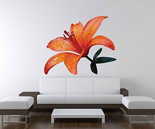 3D Wandtattoo Blume Lilie orange Tigerlilie Wand Aufkleber Deko Wandbild Wandsticker A3D74, Motiv Breite:60cm