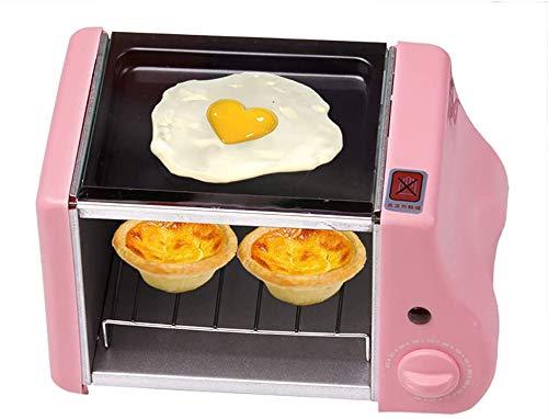 Mini Elektrische Bakken Bakkerij Gebraden Oven,Grill Gebakken Eieren Omelet Koken Pan Ontbijt Machine Brood Maker Toaster,1.5L Mini Ontbijt Kleine Oven,Verkrijgbaar in drie kleuren, Zwart roze