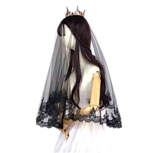 SMILY Velo de una sola capa, estilo clásico Lolita de 55 pulgadas, negro, para boda, novia, Halloween, cosplay, fiesta