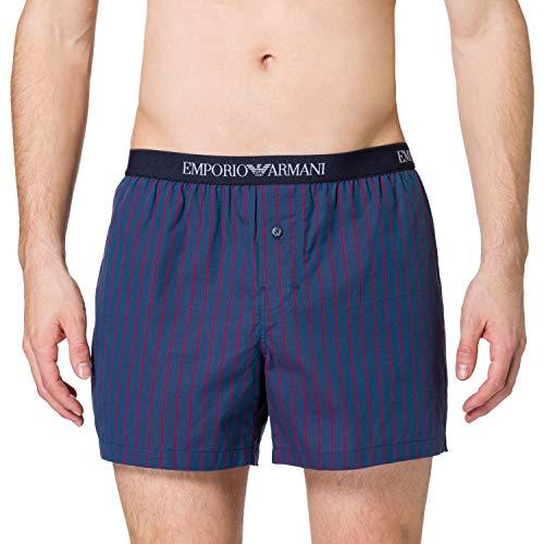 Emporio Armani Underwear Boxer Yarn Dyed Woven, Aviat.Vert.STR/Poppy, M Uomo