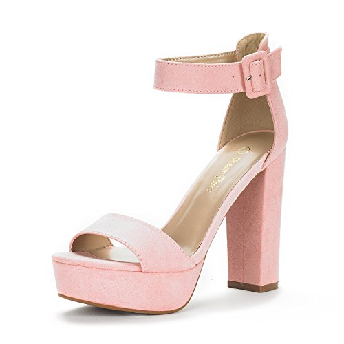 DREAM PAIRS Women's Hi-Lo Pink Suede High Heel Platform Pump Sandals - 9 M US