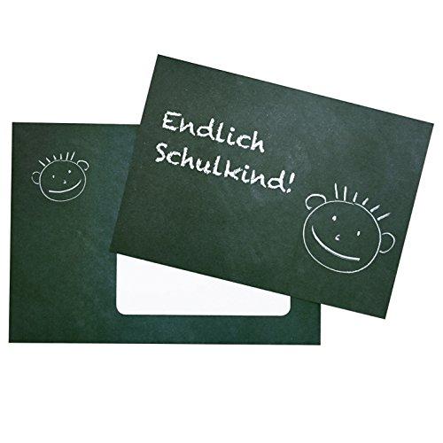 5 Einladungskarten zur Einschulung - Kreidetafel mit Gesicht - zum einfachen Selbstbedrucken