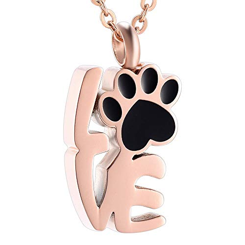 Ashes Necklace Keepsake Jewelry 360 L Stainless Steel Small Cross With Dog Cat paw Print Cremation Necklace Pendant Keepsake Jewelry For Ashes