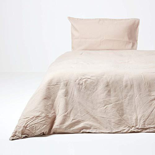 Homescapes Leinen Bettwäsche 2-teiliges Set Beige Unifarben enthält Leinen Bettbezug 155 x 200 cm und Leinen Kissenbezug 80 x 80 cm Farbe Natur 100% Reine Baumwolle und Französisches Leinen Mischung…