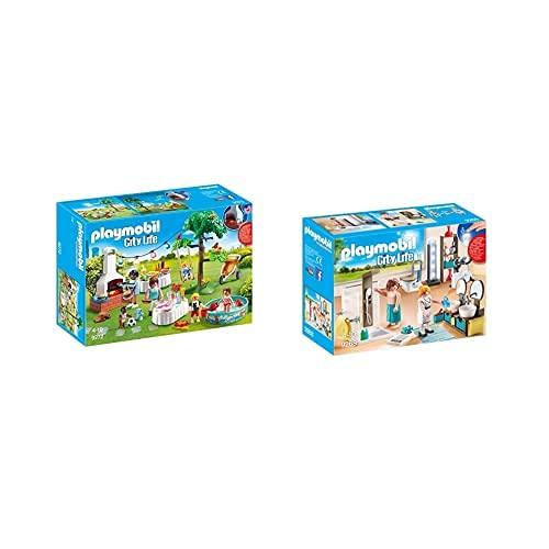 PLAYMOBIL City Life Playset Fiesta En El Jardín, Multicolor (9272) + City Life Baño, con Efectos De Luz, A Partir De 4 Años (9268)