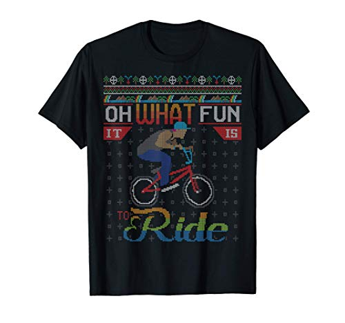 Oh What Fun It Is To Ride Bicycle Ugly Christmas Sweater Camiseta