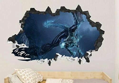 Pegatinas de pared Calcomanías de pared de vinilo personalizadas de terror oscuro pelar y pegar decoración de papel tapiz Póster Arte 3D Mural 50x70cm