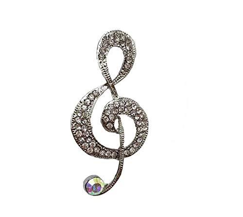 Spilla con chiave di violino e chiave di violino e Lega, colore: argento